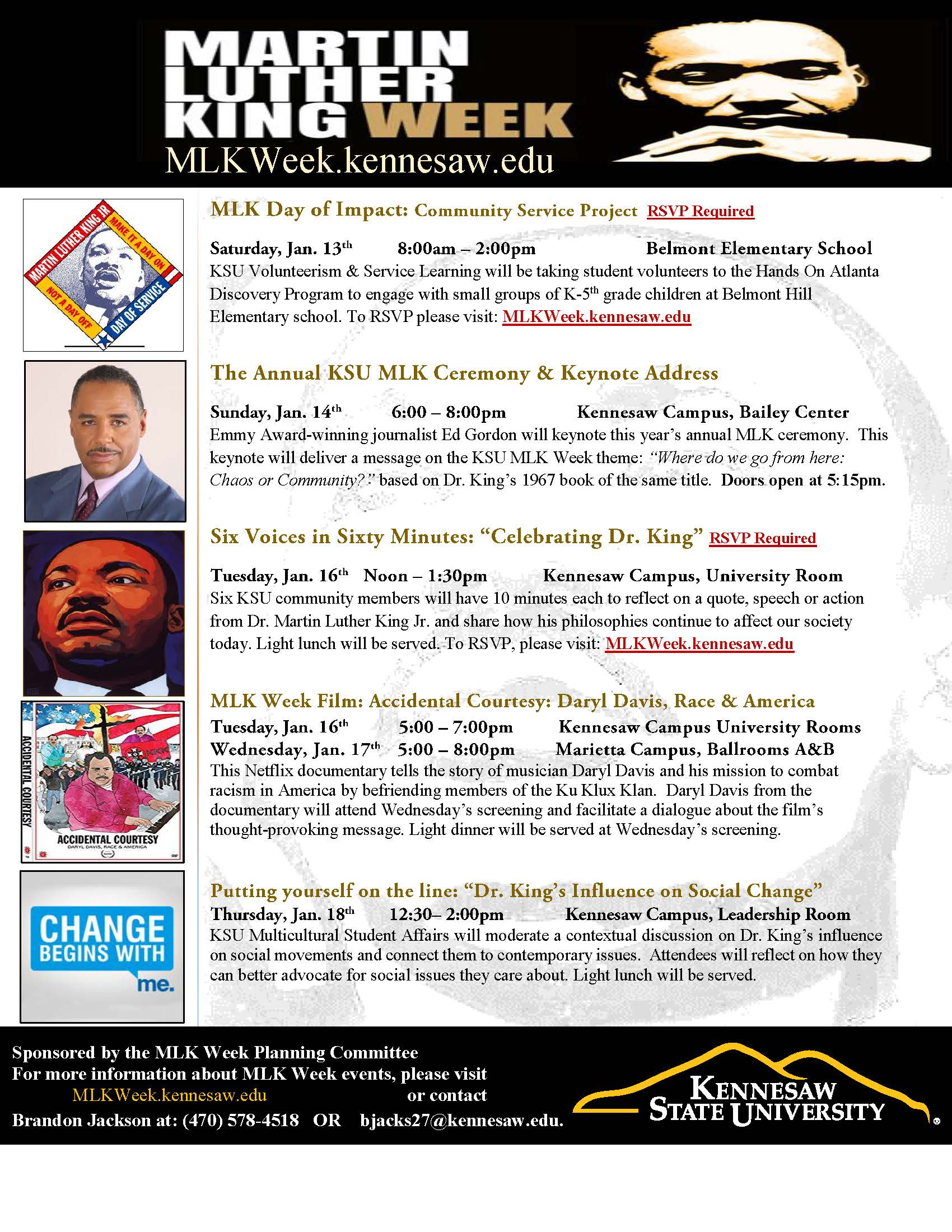 Kennesaw State Academic Calendar >> Martin Luther King Jr Week 2018 Office Of Diversity And